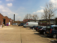 View from the front with parking. Note Olympic Stadium, on right.<br /> West Ham FC will occupy from 2016<br /> NB 2016 would be the tercentary of THB brewery (1666-2016)