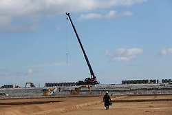 Picture taken on February 6, 2018 shows the construction site to build sea walls for protecting the 2011 tsunami hit area from waves and tsunami in Miyagi prefecture.<br /> A massive earthquake on March 11, 2011 sent a tsunami into Japan's northeast coast, leaving more than 18,000 people dead or missing and causing Fukushima nuclear crisis, which made residents near the Daiichi power plant fled their homes and business. Photo by Farzaneh Khademian/ABACAPRESS.COM