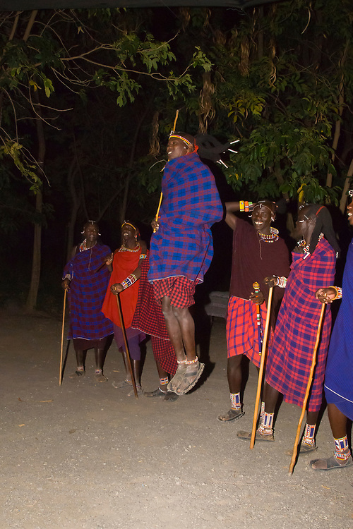 Maasai warriors doing the adumu (traditional jumping dance), Amboseli National Park, Kenya
