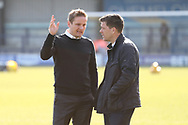 AFC Wimbledon manager Neal Ardley and Bristol Rovers Manager Darrell Clarke  in deep discussion during the EFL Sky Bet League 1 match between AFC Wimbledon and Bristol Rovers at the Cherry Red Records Stadium, Kingston, England on 17 February 2018. Picture by Matthew Redman.