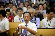 Terry Gou, founder and chairman of Hon Hai Group and one of the richest man in Taiwan, attends a news conference at the company's Foxconn plant in Shenzhen, China, on Wednesday, May 26, 2010. Hon Hai is the parts supplier for many hi-tech companies around the world including Apple Inc., Hewlett-Packard Co. and Dell Inc. There have been 12 suicides at the company's 300 thousand employee strong factory complex in Shenzhen so far this year. Foxconn has since moved some of its operations further inland to be closer to labor pool as well as cut costs.