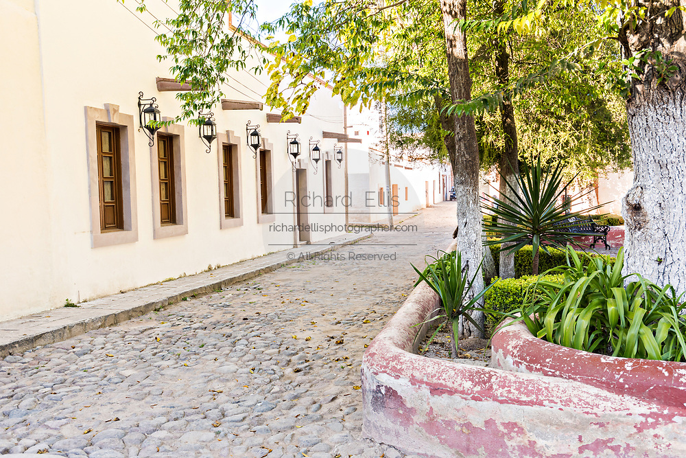 Emply cobble stone street in the ghost town of Mineral de Pozos, Guanajuato, Mexico. The town, once a major silver mining center was abandoned and left to ruin but has slowly comeback to life as a bohemian arts community.