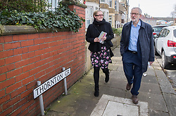 Labour Leader Jeremy Corbyn canvassing in Morecambe with candidate Lizzi Collinge, while on the local elections campaign.