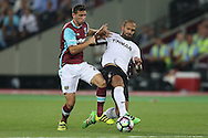 Geraldo Alves of Astra Giurgiu intercepts Jonathan Calleri of West Ham United. UEFA Europa league, 1st play off round match, 2nd leg, West Ham Utd v Astra Giurgiu at the London Stadium, Queen Elizabeth Olympic Park in London on Thursday 25th August 2016.<br /> pic by John Patrick Fletcher, Andrew Orchard sports photography.