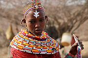 portrait of a Samburu Maasai woman. Samburu Maasai an ethnic group of semi-nomadic people Photographed in Samburu, Kenya