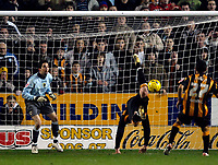 Photo: Jed Wee.<br />Hull City v Cardiff City. Coca Cola Championship. 16/12/2006.<br /><br />Hull's Stephen McPhee clowns around as his miscues a fancy scorpion kick after hitting his initial penalty attempt against the bar.
