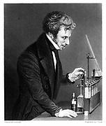 Michael Faraday (1791-1867) British chemist and physicist c1845.  Engraving