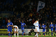 Sol Bamba of Cardiff city (14) celebrates after he scores his teams 1st goal to make it 1-0. EFL Skybet championship match, Cardiff city v Hull city at the Cardiff city stadium in Cardiff, South Wales on Saturday 16th December 2017.<br /> pic by Andrew Orchard, Andrew Orchard sports photography.