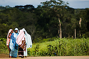 A group of teenage girls by the roadside in Garga Sarali, near Bertoua, Cameroon on Tuesday September 15, 2009.