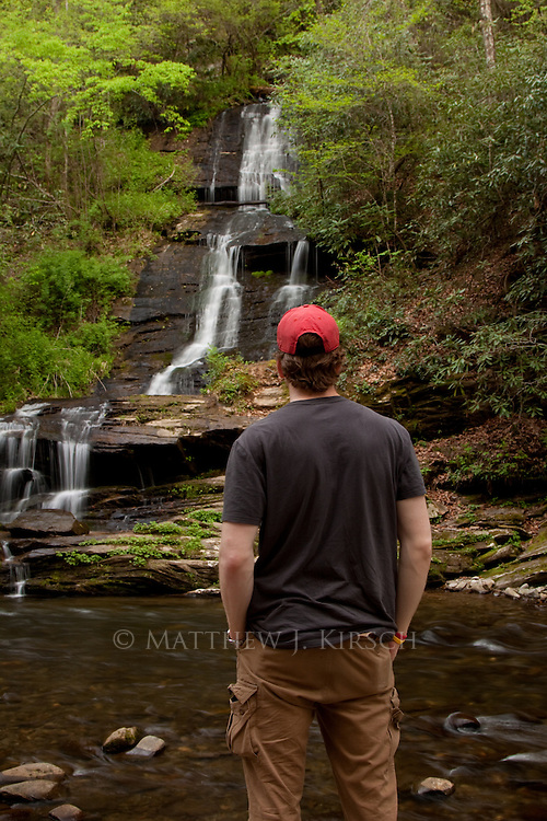 At about 80 feet tall, Tom's Branch Falls spills into Deep Creek.  It is located a few miles outside Bryson City within the Deep Creek Campground area