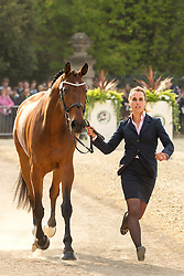 Merel Blom (NED) leads Rumour Has It  for the vet's inspection during the trot up at the 2013 Mitsubishi Motors Badminton Horse Trials. Thursday 02  May  2013.  Badminton, Gloucs, UK..Photo by: Mark Chappell / i-Images