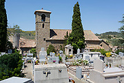 Village church and cemetery, on 26th May, 2017, in Villerouge-Termenès, Languedoc-Rousillon, south of France