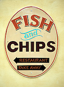 Close up fish and chips sign, Wickham Market, Suffolk, England
