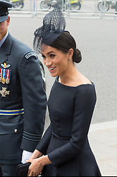 © Licensed to London News Pictures. 10/07/2018. London, UK. Meghan, Duchess of Sussex attends a service at Westminster Abbey to make the100th anniversary of the Royal Air Force at Westminster Abbey. The RAF, the world's first independent air force was founded on 1 April 1918, independent of the British Army and Royal Navy. Photo credit: Ray Tang/LNP