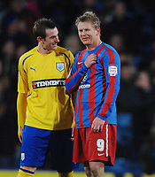 Football - Crystal Palace v Preston North End  03/01/2011 Steffen Iversen (Palace) jokes with Paul Hayes after his goal. Credit : Colorsport / Andrew Cowie