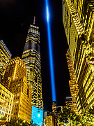 One World Trade Center, Freedom Tower with 9/11 Memorial Blue Lights, NYC, in the background.