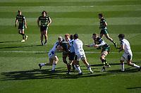 Rugby Union - 2020 / 2021 Gallagher Premiership - Round 11 - Northampton Saints vs Bath - Franklin Gardens<br /> <br /> Northampton Saints' Taqele Naiyaravoro is tackled by Bath Rugby's Miles Reid and Juan Schoeman.<br /> <br /> COLORSPORT/ASHLEY WESTERN