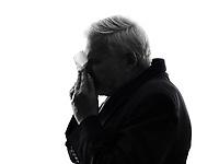 One Caucasian Senior Business Man sneezing Silhouette White Background