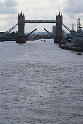 London Bridge, London, June 15th 2016. A flotilla of fishing boats led by UKIP's Nigel Farage heads through Tower Bridge in protest against the EU's Common Fisheries Policy and in support of Britain leaving the EU. PICTURED: Tower bridge lifts for the flotilla.