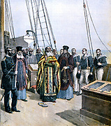 Russian Orthodox priests performing ceremony of naming 'Strela', the yacht of Grand Duke  Alexis. From 'Le Petit Journal',  11 October 1891.