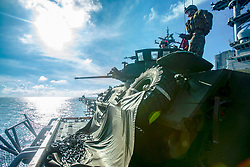 Marines with Weapons Company, Battalion Landing Team, 2nd Battalion, 5th Marines, aim a Light Armored Vehicle's M242 Bushmaster 25 mm chain gun  during gunnery training aboard the amphibious assault ship USS Wasp (LHD 1), underway in the South China Sea, Sept. 24, 2018. During the training, the Marines staged LAVs atop the Wasp's flight deck to refine their gunnery capabilities to act as ship security. The 31st MEU, the Marine Corps' only continuously forward-deployed MEU, provides a flexible force ready to perform a wide-range of military operations. (U.S. Marine Corps photo by Lance Cpl. Alexis B. Betances/Released)
