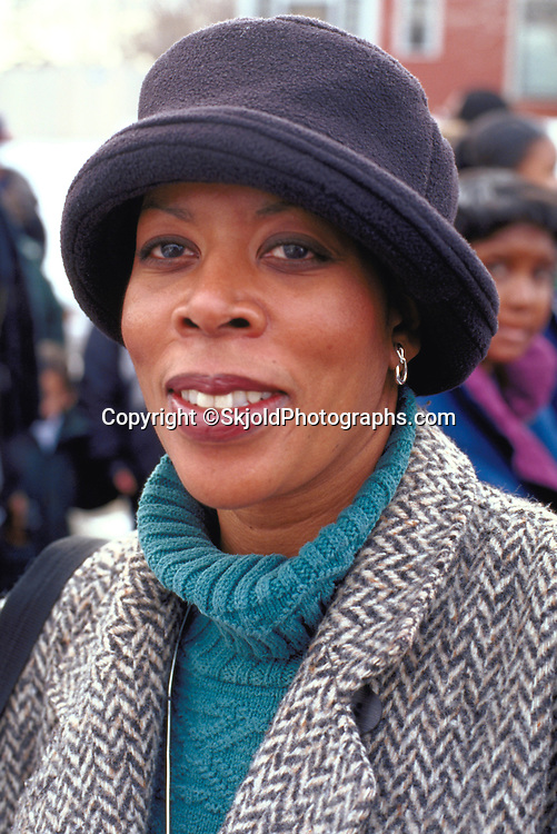 Woman age 38 at the Martin Luther King Day parade Central High.  St Paul  Minnesota USA