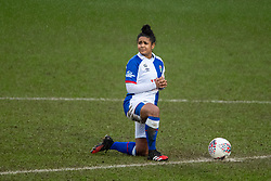 BIRKENHEAD, ENGLAND - Sunday, March 28, 2021: Blackburn Rovers' captain Saffron Jordan kneels down (takes a knee) in support of the Black Lives Matter movement before the FA Women's Championship game between Liverpool FC Women and Blackburn Rovers Ladies FC at Prenton Park. The game ended in a 1-1 draw. (Pic by David Rawcliffe/Propaganda)