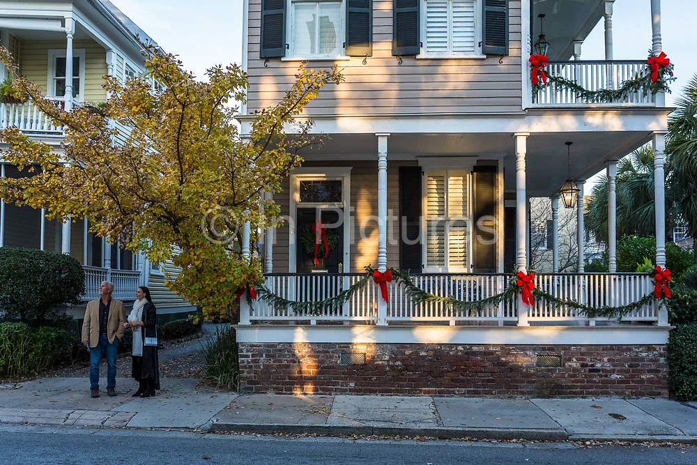Historic downtown Charleston housing  and architecture during the Christmas festivities, South Carolina.