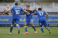 AFC Wimbledon striker Lyle Taylor (33) celebrating after scoring goal to make it 2-1 during the The FA Cup match between AFC Wimbledon and Charlton Athletic at the Cherry Red Records Stadium, Kingston, England on 3 December 2017. Photo by Matthew Redman.
