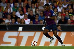 October 8, 2018 - Valencia, Valencia, Spain - Nelson Semedo  in action during the week 8 of La Liga match between Valencia CF and FC Barcelona at Mestalla Stadium in Valencia, Spain on October 7, 2018. (Credit Image: © Jose Breton/NurPhoto/ZUMA Press)