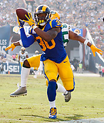 during an NFL football game \a on Sunday, Oct. 28, 2018, in Los Angeles. The Rams defeated the Packers, 29-27. (Ryan Kang via AP)