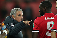 Jose Mourinho, the Manchester Utd manager points at replacement Romelu Lukaku as he sends him on.   EFL Carabao Cup 4th round match, Swansea city v Manchester Utd at the Liberty Stadium in Swansea, South Wales on Tuesday 24th October 2017.<br /> pic by  Andrew Orchard, Andrew Orchard sports photography.