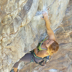 Rock Climbing - Ingrid on Howard the Duck at Lake Louise