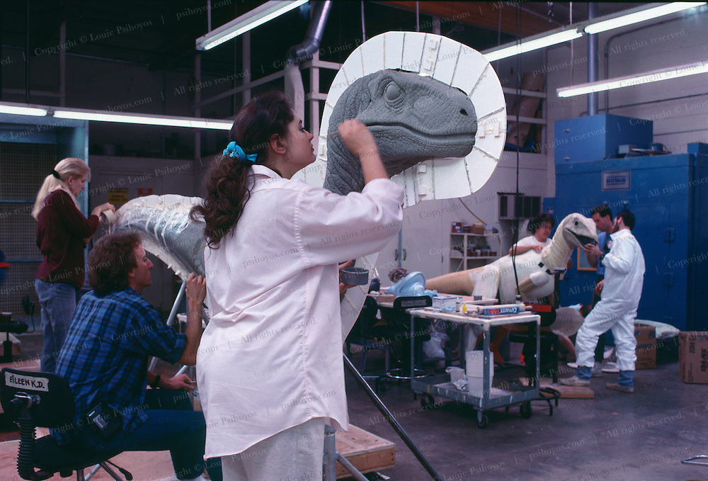 At Stan Winston Studios outside L.A. in Van Nuys, CA., the dinosaurs, like these velociraptors for Steven Spielberg's action epic, Jurassic Park were created.  Stan is one of Hollywoods most innovative character creators.