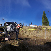 A competitor falls from his bike during the thrills and spills of the New Zealand Cyclocross Championships sponsored by AJ Hackett Bungy, held at Jardine Park,  Queenstown, as part of the Queenstown WInter Festival. The men's event was won by Dan Warren from Hastings while Anja McDonald from Dunedin won the women's event. Queenstown, New Zealand, 2nd July 2011