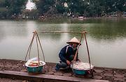 female food vendor selling her food Hanoi, Vietnam