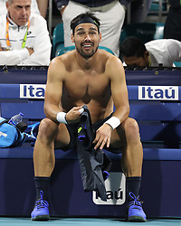 March 22, 2019 - Miami Gardens, Florida, United States Of America - MIAMI GARDENS, FLORIDA - MARCH 22:  Fabio Fognini on Day 5 of the Miami Open Presented by Itau at Hard Rock Stadium on March 22, 2019 in Miami Gardens, Florida..People: Fabio Fognini. (Credit Image: © SMG via ZUMA Wire)