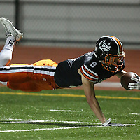 (Photograph by Bill Gerth for SVCN) Los Gatos #9 Ben Grasty dives for extra yardage vs Saratoga in a SCVAL Football Game at Los Gatos High School, Los Gatos CA on 11/4/16.  (Los Gatos 49 Saratoga 7)