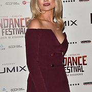 Laura Whitmore attends the Raindance Opening Gala 2018 held at Vue West End, Leicester Square on September 26, 2018 in London, England.
