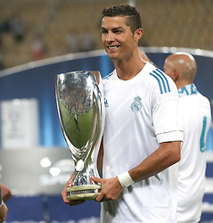 August 9, 2017 - Skopje, Macedonia - Cristiano Ronaldo of Real Madrid with the trophy after the UEFA Super Cup match between Real Madrid and Manchester United at National Arena Filip II Macedonian on August 8, 2017 in Skopje, Macedonia. (Credit Image: © Raddad Jebarah/NurPhoto via ZUMA Press)