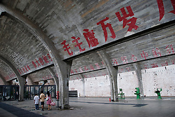 Interior of former factory building now exhibition space at new 798 Art District in Beijing