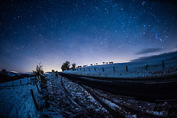 © Licensed to London News Pictures. 11/12/2017. Aberystwyth, Wales, UK. Under a clear, star-filled sky in the hills near Aberystwyth, temperatures begin to plummet, with lows of -12ºc forecast for some parts of the UK .Photo credit: Keith Morris/LNP