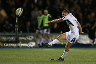Finn Russell of Glasgow Warriors  kicks a penalty. Guinness Pro14 rugby match, Cardiff Blues v Glasgow Warriors Rugby at the Cardiff Arms Park in Cardiff, South Wales on Saturday 16th September 2017.<br /> pic by Andrew Orchard, Andrew Orchard sports photography.