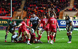 Scarlets' Gareth Davies clears his line<br /> <br /> Photographer Craig Thomas/Replay Images<br /> <br /> European Rugby Champions Cup Round 5 - Scarlets v Toulon - Saturday 20th January 2018 - Parc Y Scarlets - Llanelli<br /> <br /> World Copyright © Replay Images . All rights reserved. info@replayimages.co.uk - http://replayimages.co.uk