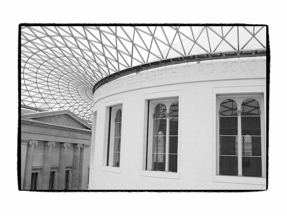 Upper Rotunda View British Museum - London UK - Artist Designed Custom Border - Black & White