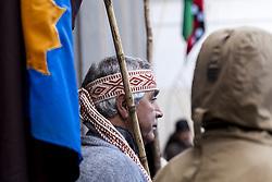 April 27, 2018 - Osorno, Chile - Osorno, Chile. 27 April 2018. Mapuche - Huilliche communities leave the Osorno Cathedral after spending eight days in it in support of the Machi Celestino Córdova ancestral authority that was on a hunger strike in Osorno, Chile. (Credit Image: © Fernando Lavoz/NurPhoto via ZUMA Press)