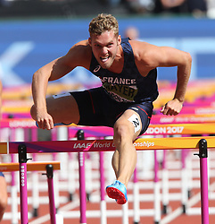 France's Kevin Mayer jumps a hurdle in the 110m Hurdles element of the Men's Decathlon during day nine of the 2017 IAAF World Championships at the London Stadium in London, UK, on Saturday August 12, 2017. Photo by Giuliano Bevilacqua/ABACAPRESS.COM