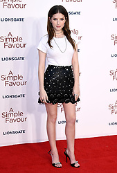 Anna Kendrick attending the Premiere of A Simple Favour held at The BFI Southbank, Belvedere Road, London. Picture credit should read: Doug Peters/EMPICS
