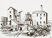 Great Western Railway's tunnel under the River Severn between England and Wales 1873-1886: Engine houses at Sudbrook housing steam engies for pumping ou the workings. Engraving 1888.