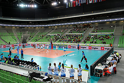 View on the court during the volleyball match between National team of Slovenia and Dominican Republic in Preliminary Round of Womens U23 World Championship 2017, on September 11, 2017 in SRC Stozice, Ljubljana, Slovenia. Photo by Morgan Kristan / Sportida